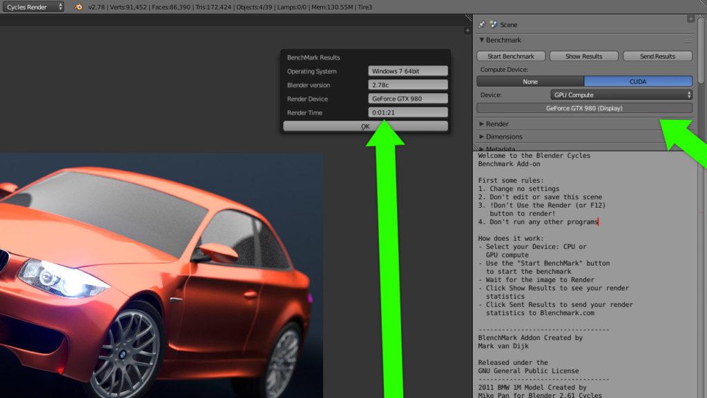 Blender Blog CUDA blenchmark resultat