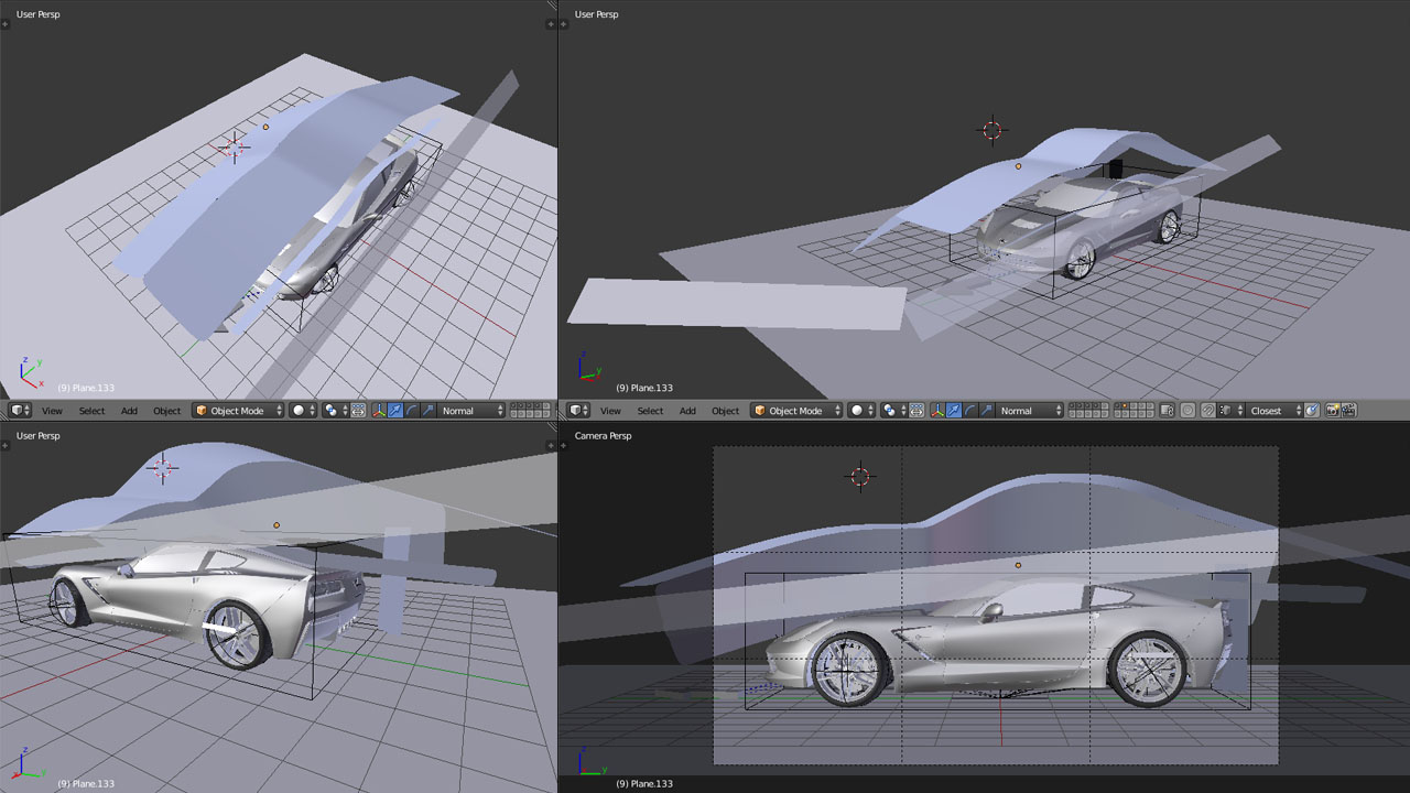 Blender Corvette C7 Stingray Lighting