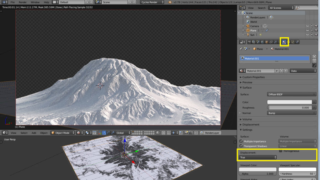 blender microdisplacement adaptive subsurf material panel