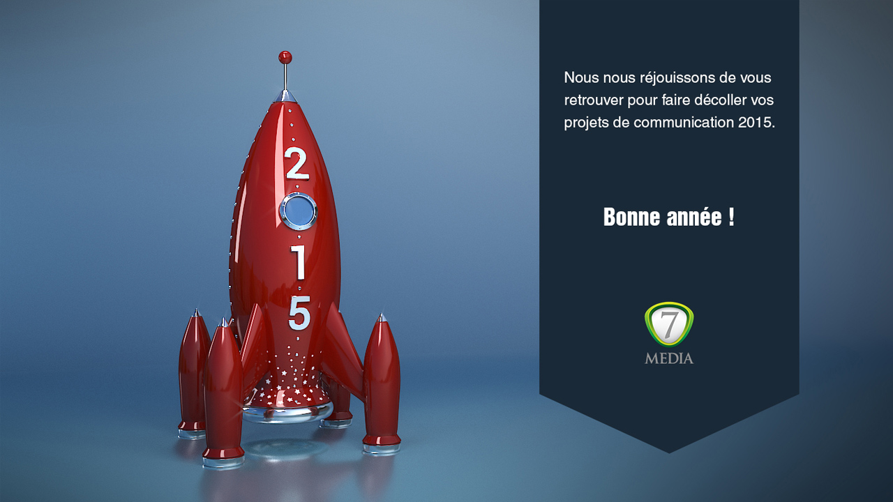 7Media Blender Cycles Happy New Year Card 2015